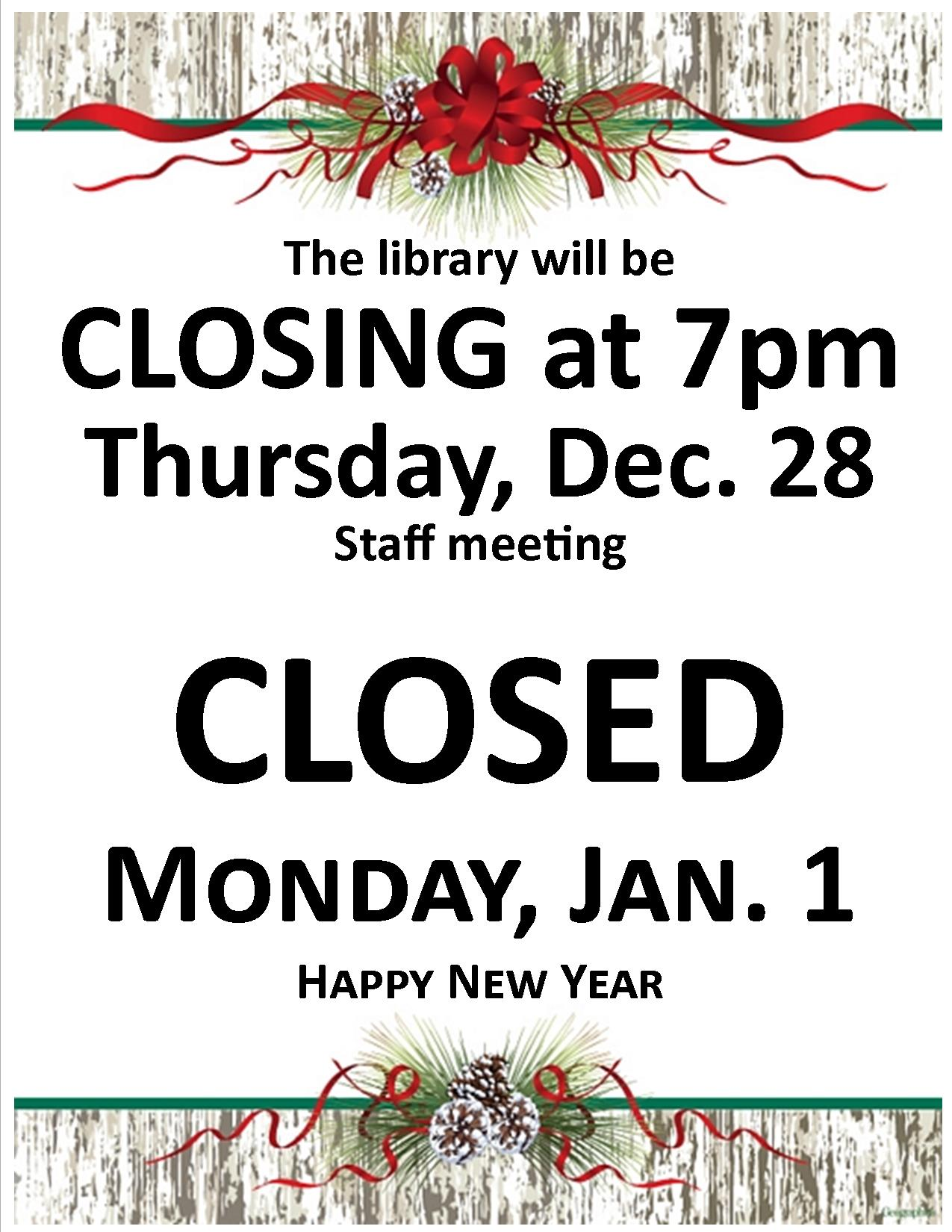 Library Closed 2017