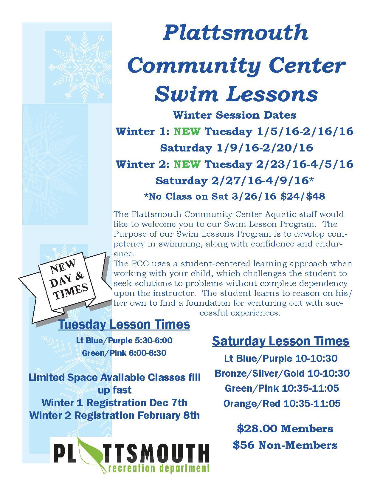 2016 Winter Swim Lessons Flier