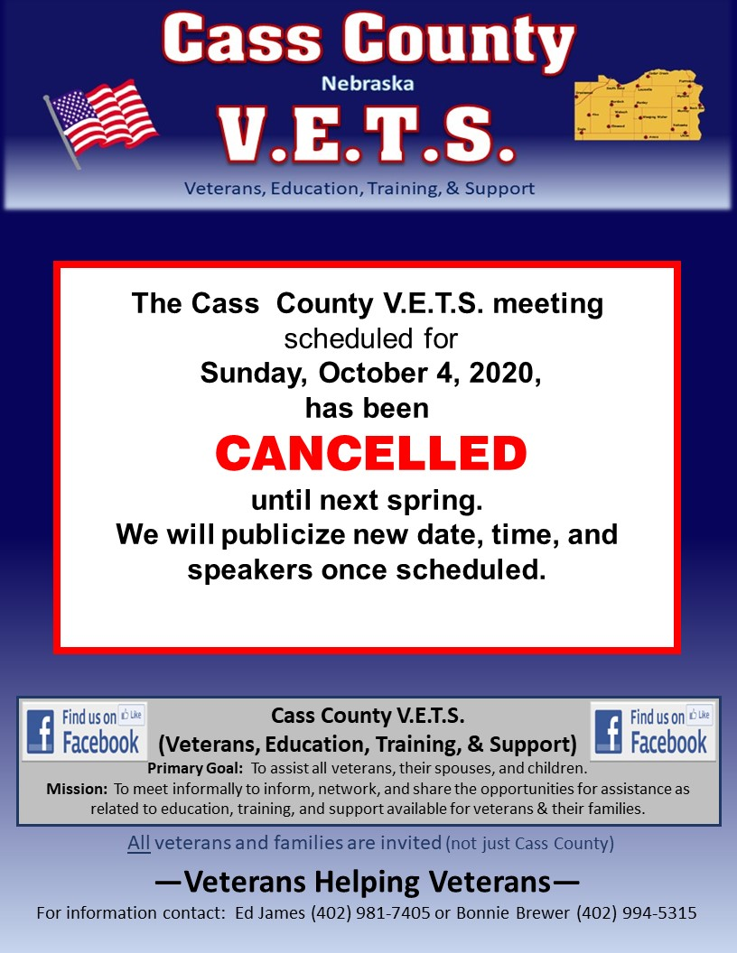 Cass County VETS Oct 4 2020 cancelled