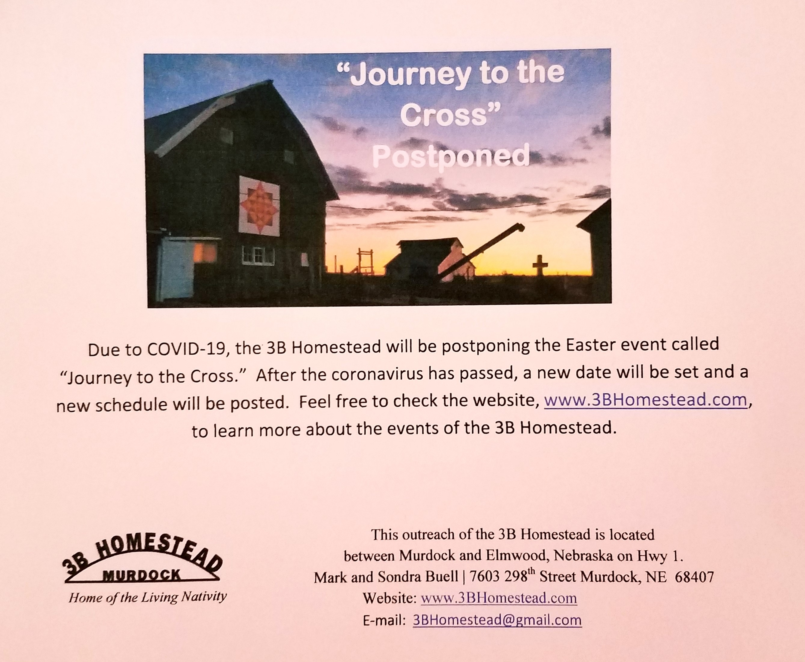 Journey to the Cross Postponed1