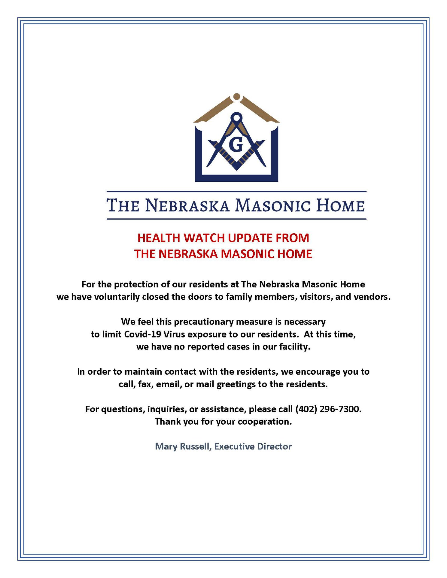 Masonic Home voluntary closed